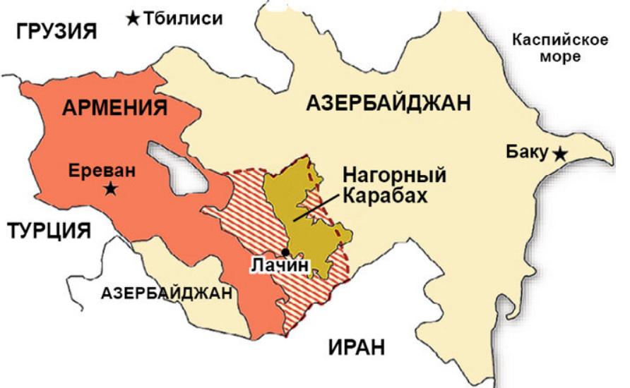 Карта Азербайджана и Армении