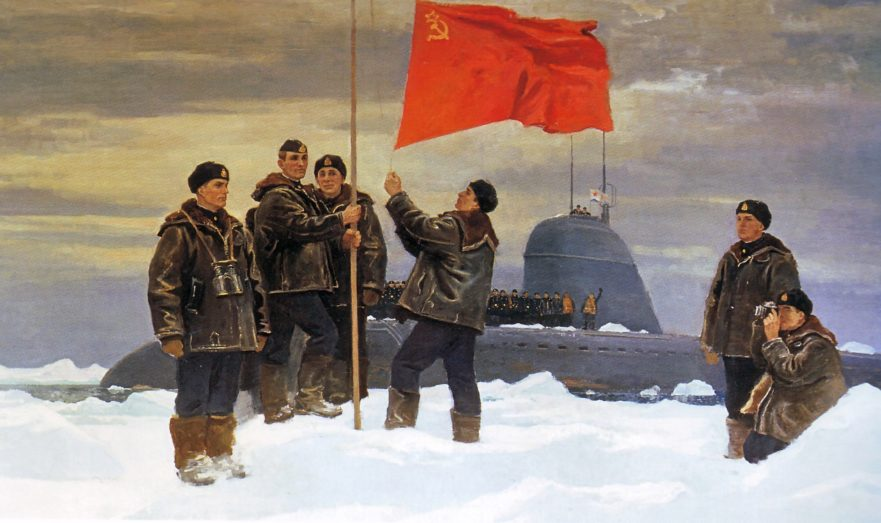 Водружение флага СССР на северном полюсе