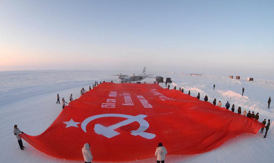 Флаг на Северном полюсе